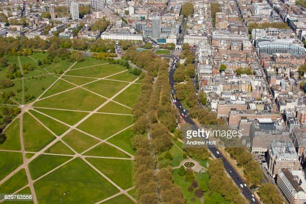 aerial photography view north of speakers' corner and marble arch. london w1c uk. - hyde park westminster fotografías e imágenes de stock