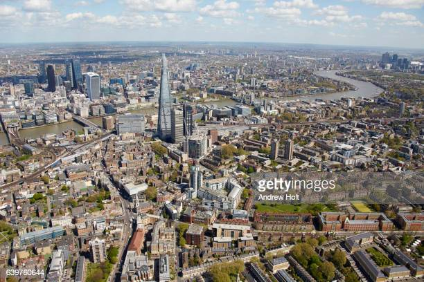 aerial photography view north of the shard and city of london. - st. james' park newcastle upon tyne stock pictures, royalty-free photos & images