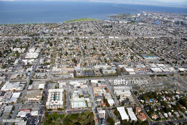Aerial photography view north-east of central San Mateo and Foster City, San Francisco Bay Area. California, United States.