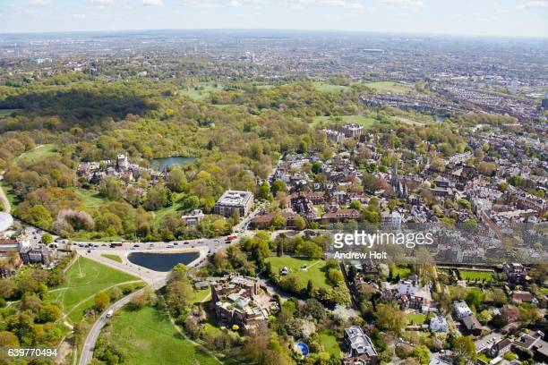 Aerial photography view north-east of Hampstead and Hampstead Heath. London, NW3, UK.