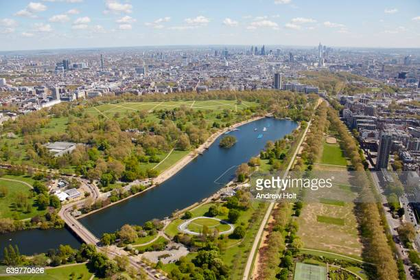 aerial photography view north-east of hyde park and the serpentine. london sw7, uk. - hyde park london stock photos and pictures