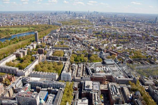 Aerial photography view north-east of Knightbridge and Natural History Museum. London SW7 UK.