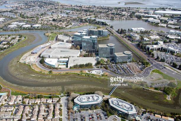 Aerial photography view north-east of Oracle Headquarters in Redwood Shores, San Francisco Bay Area. California, United States.