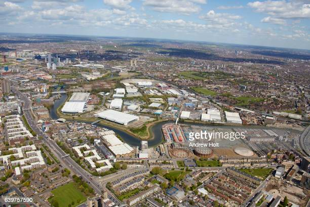 Aerial photography view north-east of River Lea, Bow creek. E14 London UK.