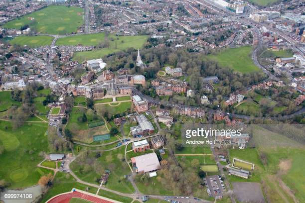 Aerial photography view north-west of Harrow on the Hill. London, Harrow HA1,UK.