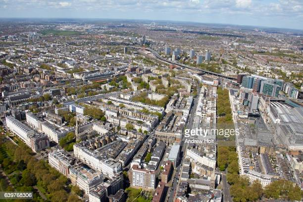 aerial photography view north-west of paddington. london w2 uk. - paddington london stock pictures, royalty-free photos & images