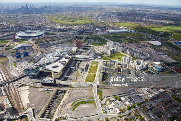 Aerial photography view north-west of Queen Elizabeth Olympic Park. E15 E20 London UK.