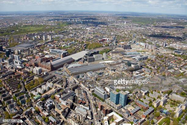 aerial photography view north-west of st pancras and kings cross station. london nw1 uk. - キングスクロス駅 ストックフォトと画像