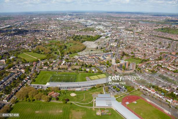 Aerial photography view north-west of Willesden Sports ground and Capital City Academy. London NW10 3QX.