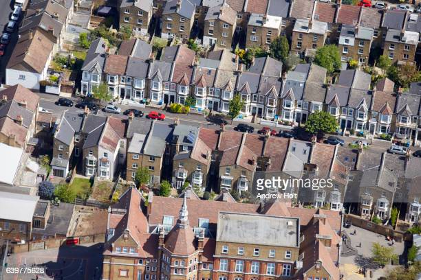 aerial photography view of houses in east dulwich, london. se22 london uk. - dulwich stock photos and pictures
