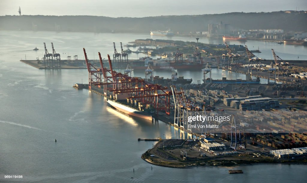 Aerial Photography View Point Of Durban City Harbour Container Terminal Pier 2