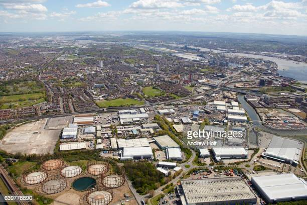 Aerial photography view south of and River Lea, West Ham industrial area, Poplar. E14 E16, London UK.