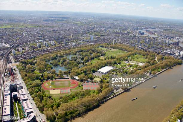 Aerial photography view south of Battersea Park. London SW11 UK.