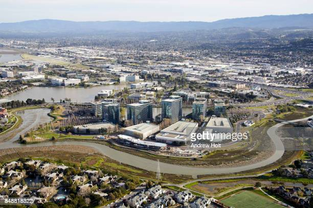 Aerial photography view south of Oracle offices in the San Francisco Bay Area. California, United States.