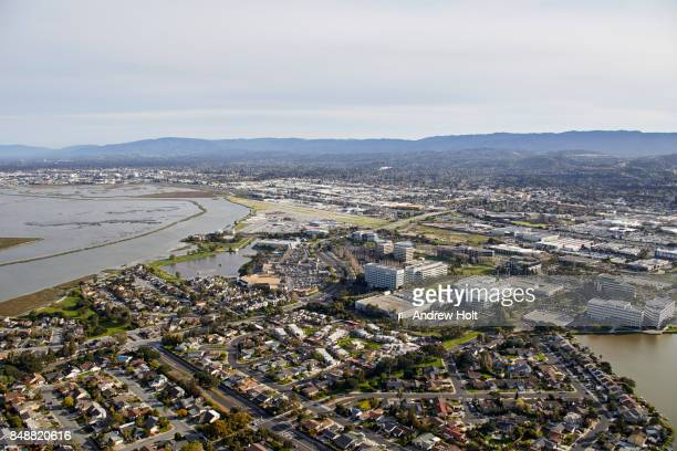 aerial photography view south of san carlos, san mateo county in the san francisco bay area. california, united states. - san mateo county stock pictures, royalty-free photos & images