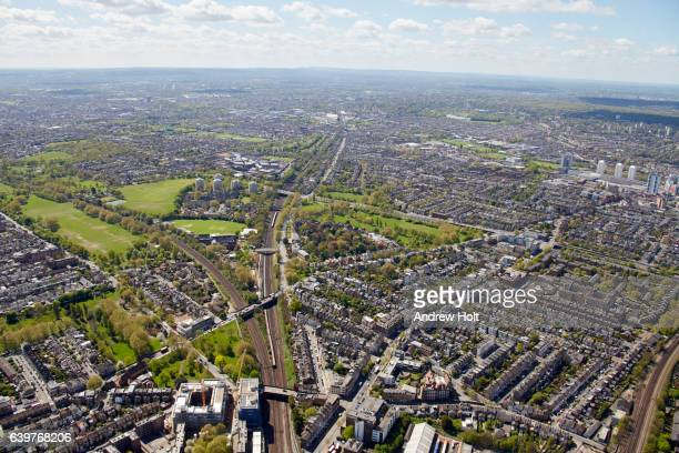 aerial photography view south of wandsworth and clapham junction. london sw11 uk. - wandsworth stock pictures, royalty-free photos & images
