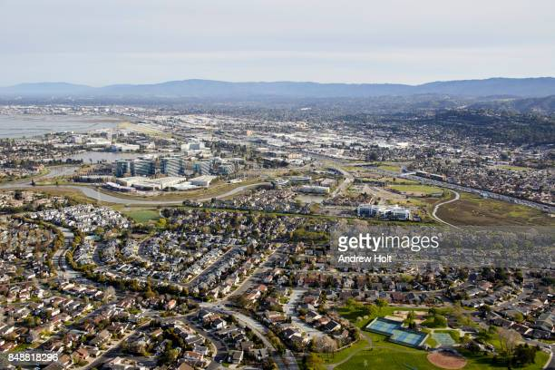 aerial photography view south-east of boothbay park, hillsdale, san mateo in the san francisco bay area. california, united states. - san mateo county stock pictures, royalty-free photos & images