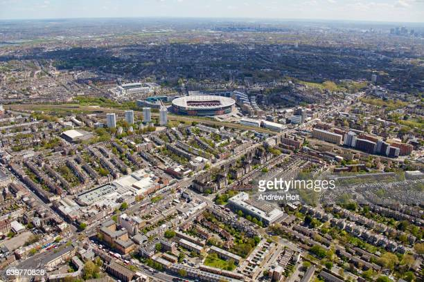 Aerial photography view south-east of Holloway and Arsenal Emirates Stadium.