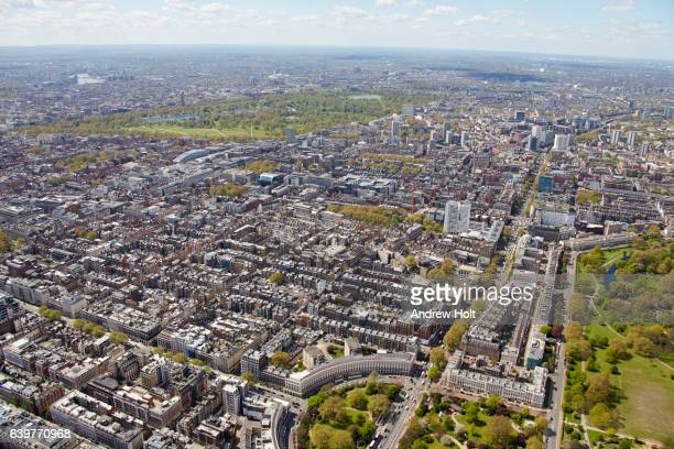 Aerial photography view south-east of Marylebone. London W1 NW1 UK.