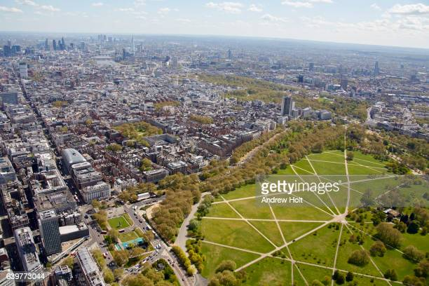 Aerial photography view south-east of May Fair.  London SW1 UK.