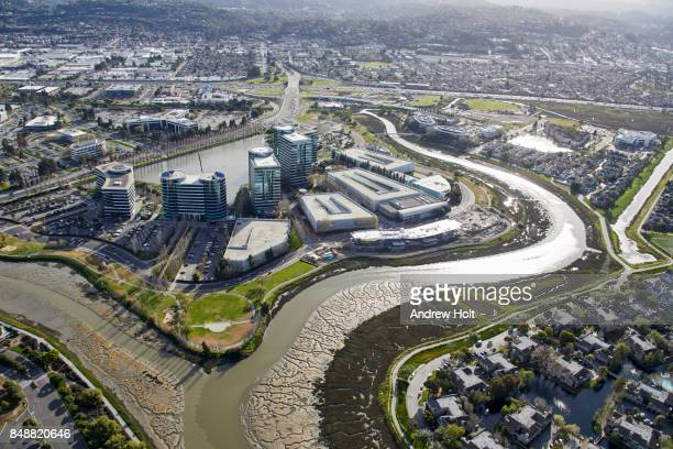 Aerial photography view south-east of Oracle offices in the San Francisco Bay Area. California, United States.