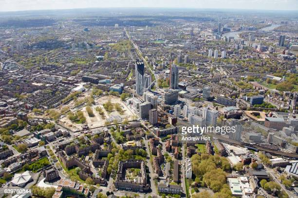 Aerial photography view south-west of Camberwell. London SE1, London UK.