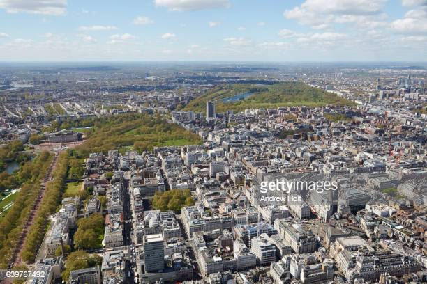 Aerial photography view south-west of St James's and Mayfair. SE1 London UK.