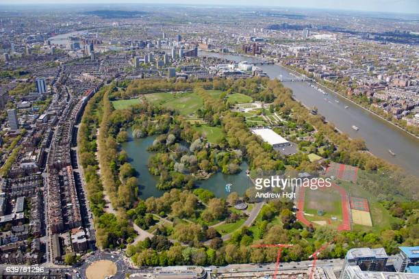 Aerial photography view west of  Battersea Park. London SW11 UK.