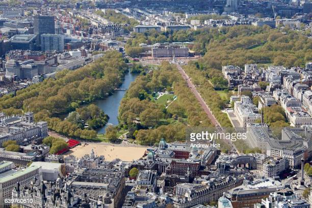 """Aerial photography view west of Buckingham Palace, Westminster and St. James""""u2019s Park. London SW1 UK."""