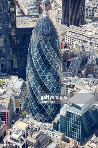 Aerial photography view west of Gherkin, 30 St. Mary Axe. EC3 London UK.