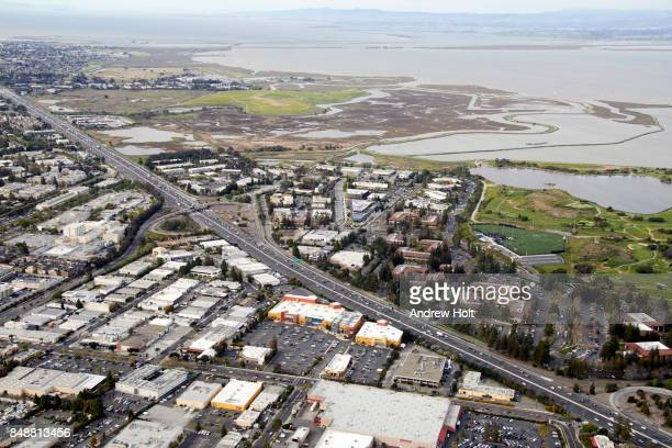 Aerial Photography view west of Google HQ and Offices in Mountain View, San Francisco Bay Area. California, United States.