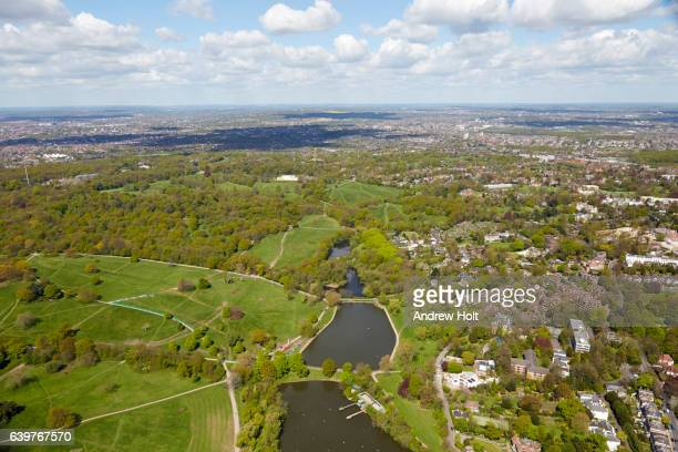 aerial photography view west of hampstead heath and highgate ponds. london nw3 uk. - hampstead heath stock pictures, royalty-free photos & images