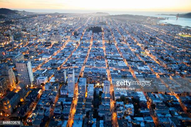 Aerial photography view west of Nob Hill, San Francisco Bay Area in the evening. California, United States.