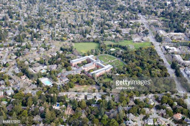 Aerial Photography view west of St. Patrick's Seminary & University Menlo Park, San Francisco Bay Area. California, United States.