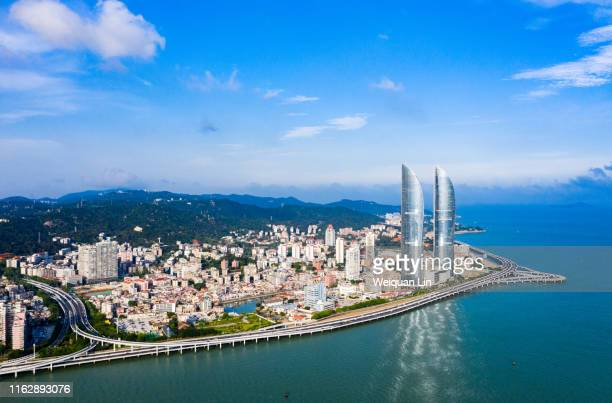 aerial photography, xiamen, fujian - xiamen stock photos and pictures