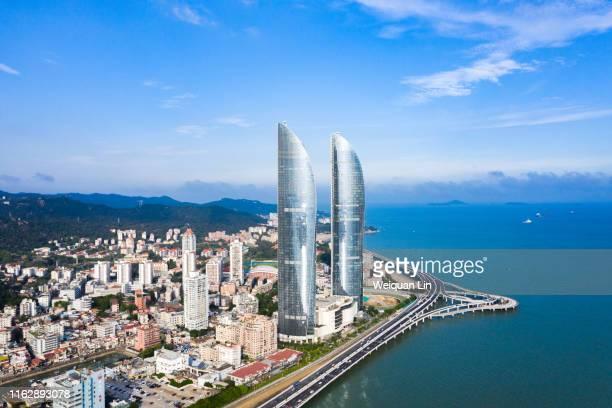 aerial photography, xiamen, fujian - xiamen fotografías e imágenes de stock
