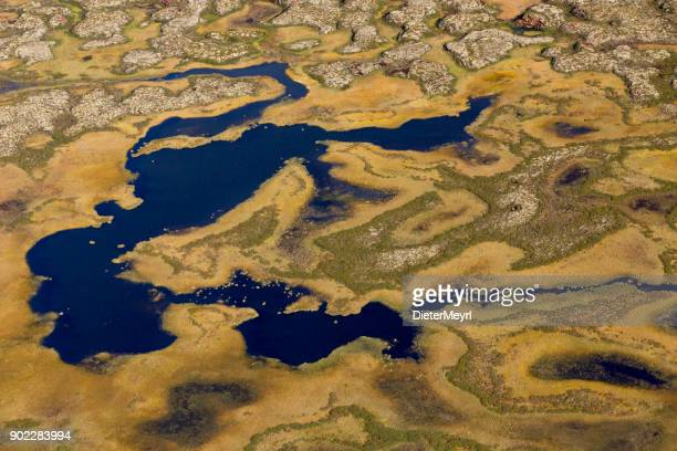 aerial photos of arctic tundra wetlands - permafrost stock pictures, royalty-free photos & images