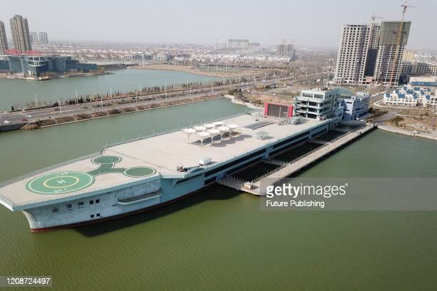 """Aerial photos of the giant Shanzhai building """"aircraft carrier"""". Binzhou, Shandong Province, China, March 11, 2020. Based on the aircraft carrier..."""