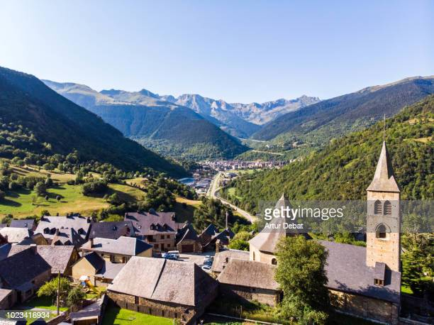 aerial picture of beautiful town in the catalan pyrenees. - catalonia stock pictures, royalty-free photos & images