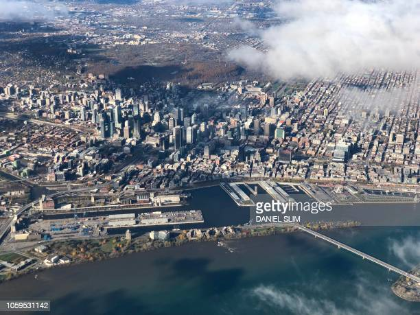 Aerial picture of downtown Montreal Quebec taken on November 4 2018