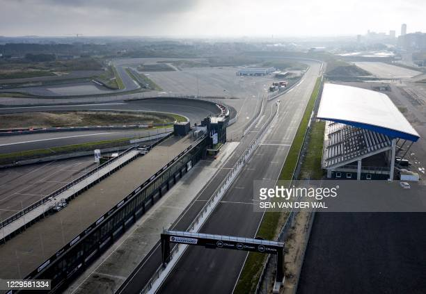 Aerial picture of the Formula 1 circuit in the dunes of Zandvoort, the Netherlands on November 11 2020. - The Grand Prix of the Netherlands in...
