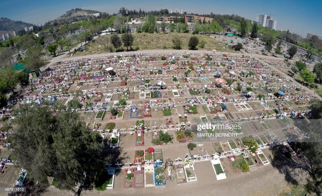 Aerial picture of the General Cemetery of Santiago, in Chile, taken on October 13, 2014. Established in 1821, the more than 85-hectare cemetery is now one of the largest in Latin America with an estimated 2 million burials. One of the most visited memorials of the cemetery is that of former President Salvador Allende, who died during the 1973 coup d'état.