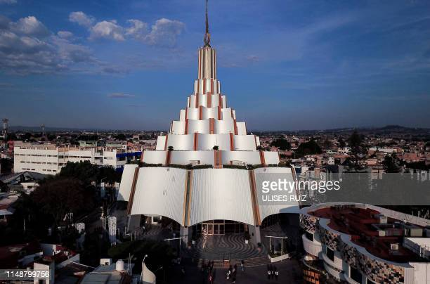 Aerial picture of the international headquarters of the Church 'La Luz Del Mundo' in Guadalajara, Jalisco State, Mexico on June 9, 2019. - Naason...
