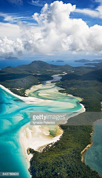 aerial picture of the whitehaven beach - whitehaven beach stock-fotos und bilder