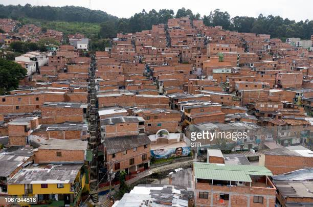 Aerial picture released by Goez Films taken on November 28, 2018 showing the Pablo Escobar neighbourhood in Medellin, Colombia. - December 2, 2018...