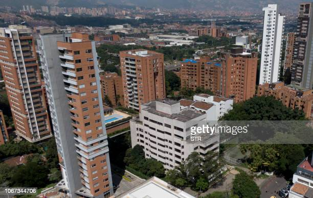 Aerial picture released by Goez Films taken on November 29 2018 showing the concrete Monaco building which was once home to Colombian drug lord Pablo...