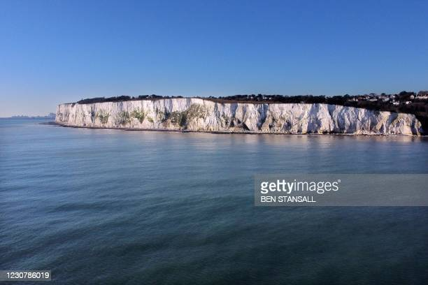 Aerial picture show the white chalk cliff's of St Margaret's Bay in Dover, on the south coast of England on January 25, 2021. - EU foreign policy...
