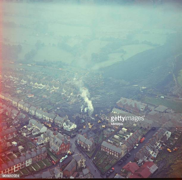 Aerial Picture showing the Disaster scene at Aberfan South Wales 21st October 1966 At 915 am on Friday 21 October 1966 after days of rain a mining...