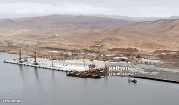 Aerial picture showing the ongoing expansion works at the port of Pisco about 250 km south of Lima on October 10 2019 The port of Pisco suffered...