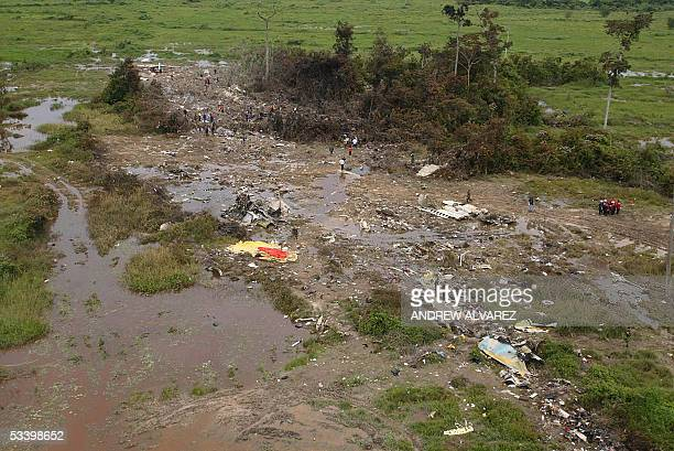 Aerial picture taken 17 August 2005 of the site where a Colombian West Caribbean plane crashed yesterday morning in the mountains of western...